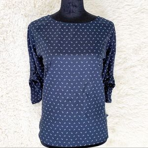 OLD NAVY Blue White Anchor Nautical Blouse Top